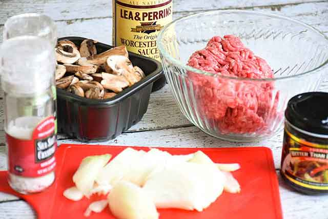 Ingredients for the recipe include diced onions, mushrooms, ground beef