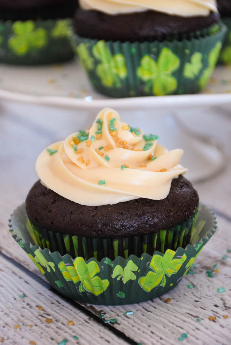 Chocolate Cupcakes with Bailey's Cream Frosting