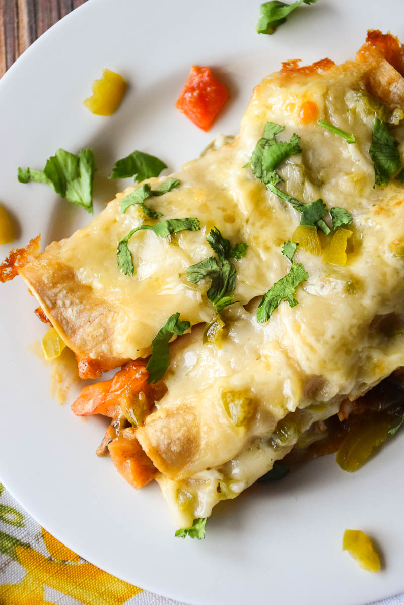 Roasted Shrimp Enchiladas with Cheesy Jalapeno Sauce