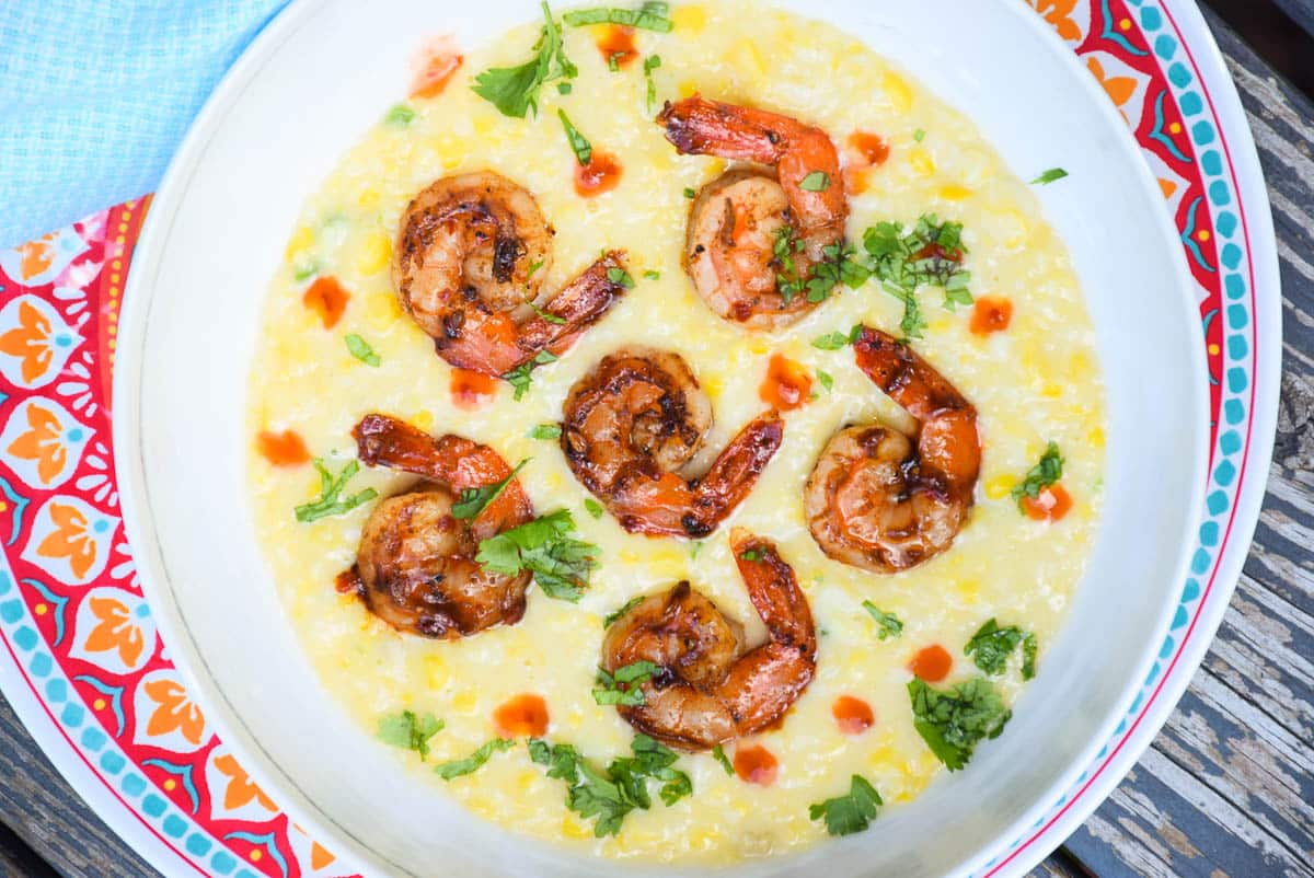 Jalapeno Creamed Corn with Chai Sweet Chili Shrimp