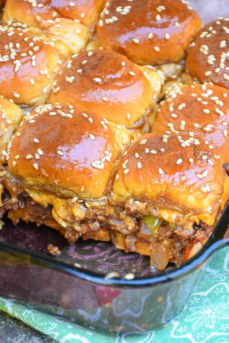 Pepperoncini Barbecue Cheeseburger Sliders