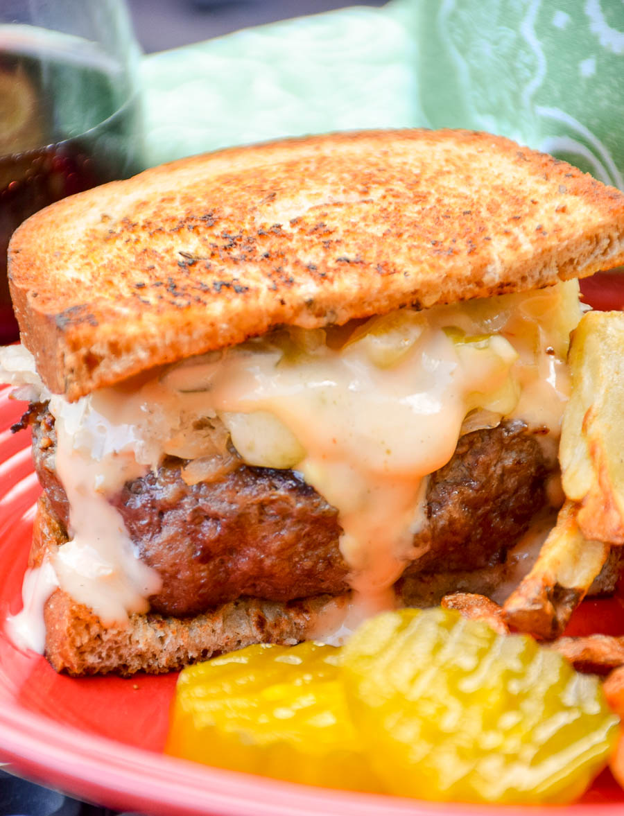Grilled Reuben Burgers