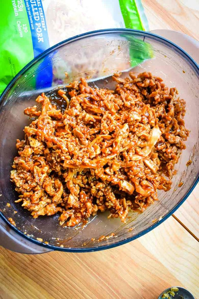 MorningStar Pulled Pork in microwave bowl with barbecue sauce