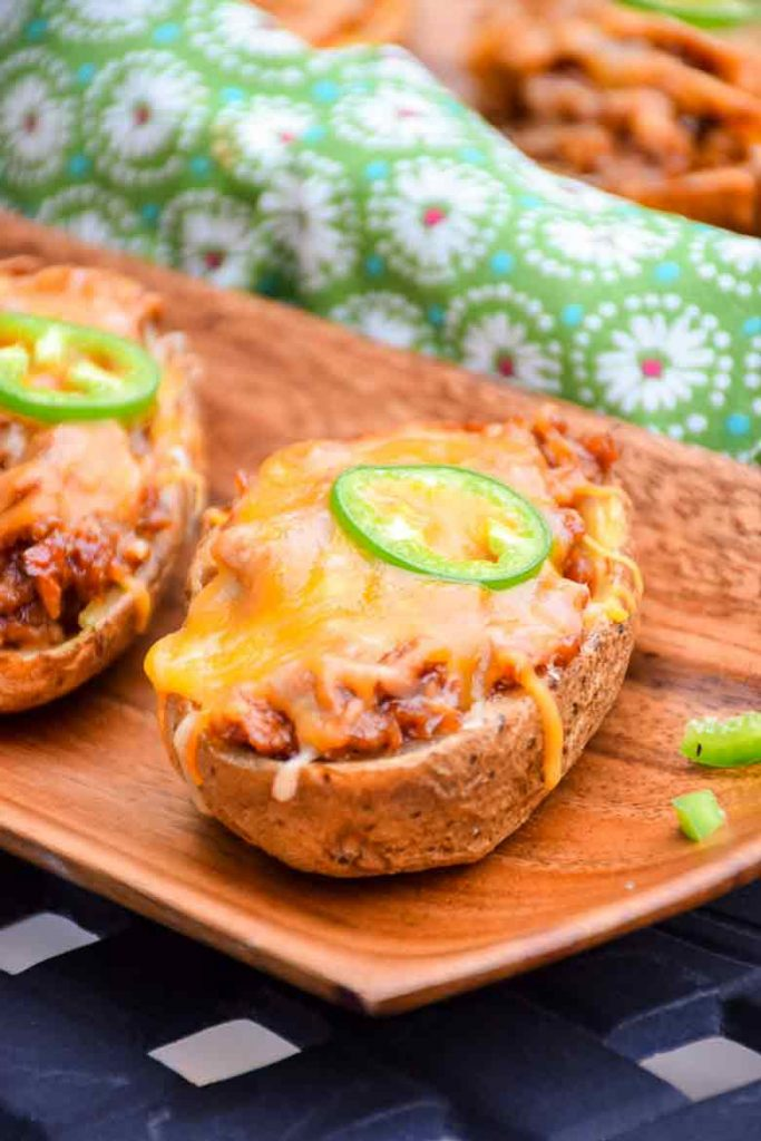 BBQ Veggie Pulled Pork Potato Skins