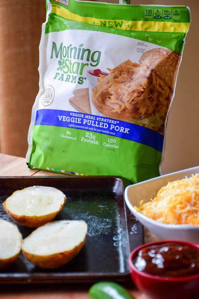 MorningStar Farms Veggie Pulled Pork bag with scooped out potato skins