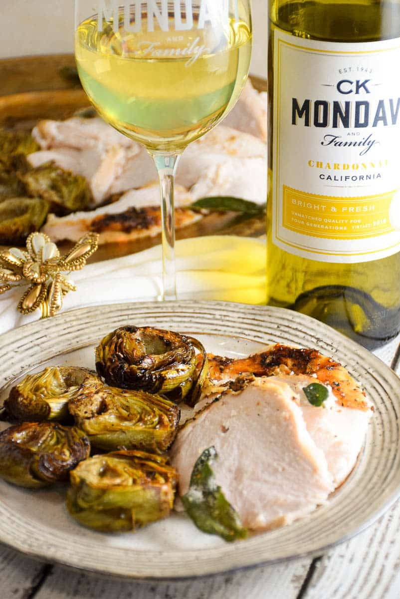 Roasted Turkey with Browned Butter Braised Artichokes