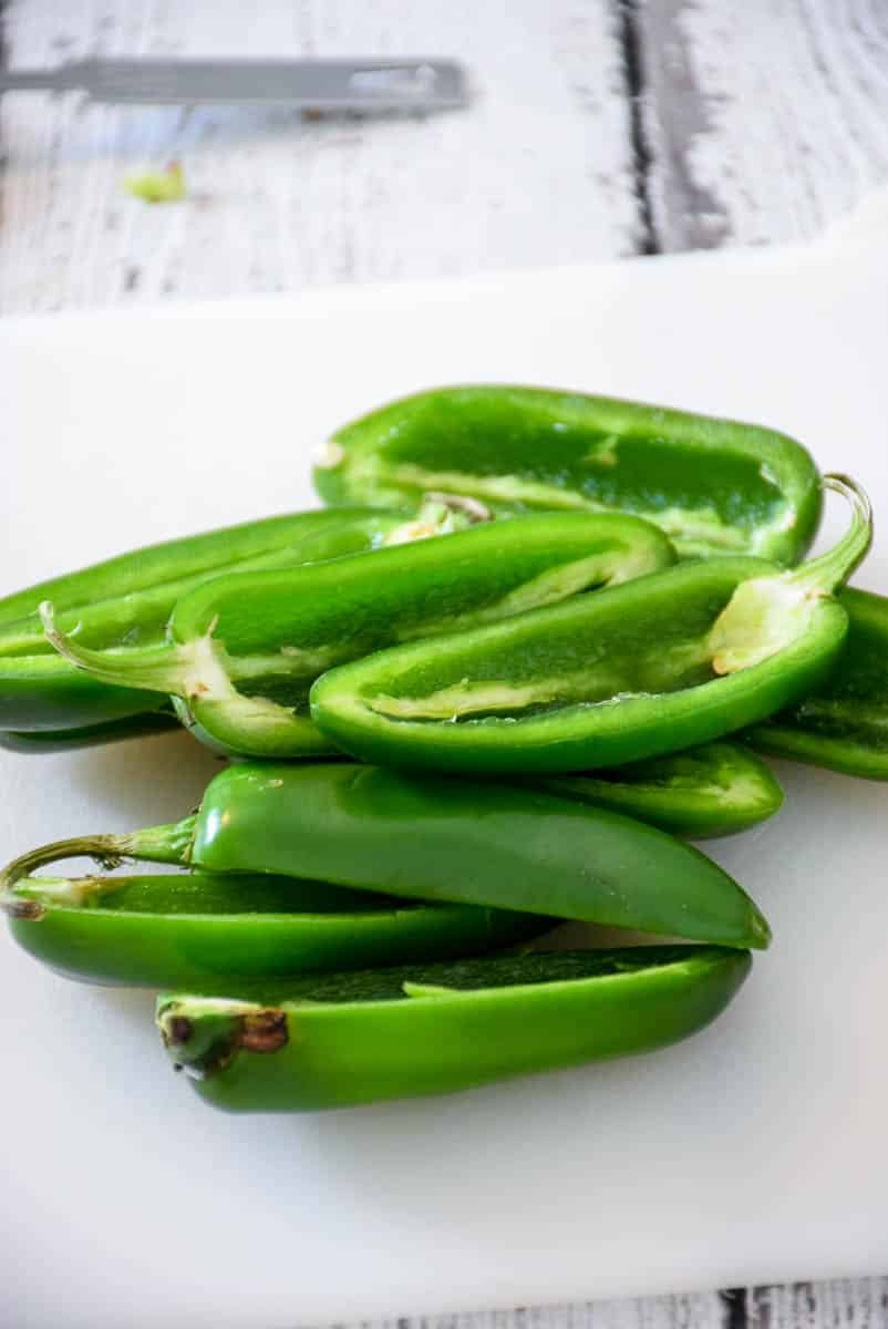jalapenos that have been sliced in half and seeded