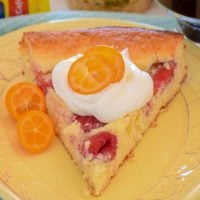 A slice of low carb Raspberry Coffee Cake topped with whipped cream and sliced kumquats