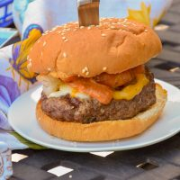 Shrimp Topped Burgers with Horseradish Dressing
