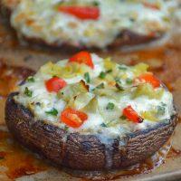 Grilled Chicken Artichoke Portobello Pizza on stoneware pan