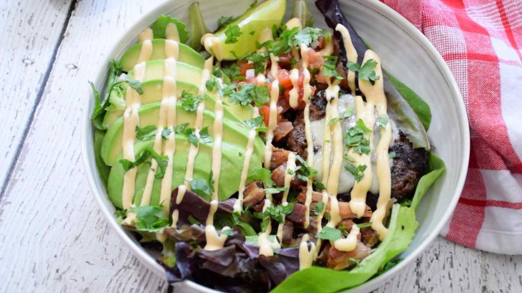 The Ultimate Burger Bowl fully loaded