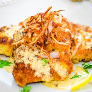 Veal Cutlets with Dijon Cream Sauce and Crispy Shallots