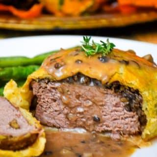 Easy Beef Wellington with Mushroom Shallot Gravy
