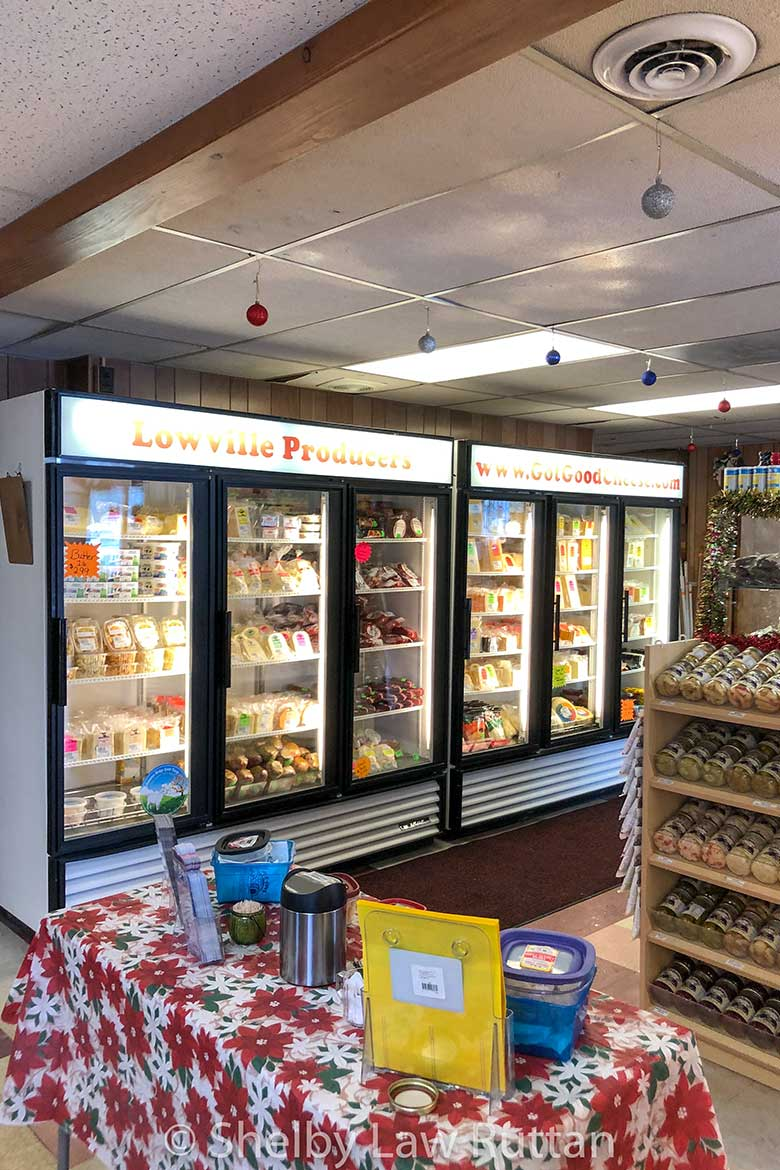 Lowville Dairy Producers cheese case where the cheese curd is found.