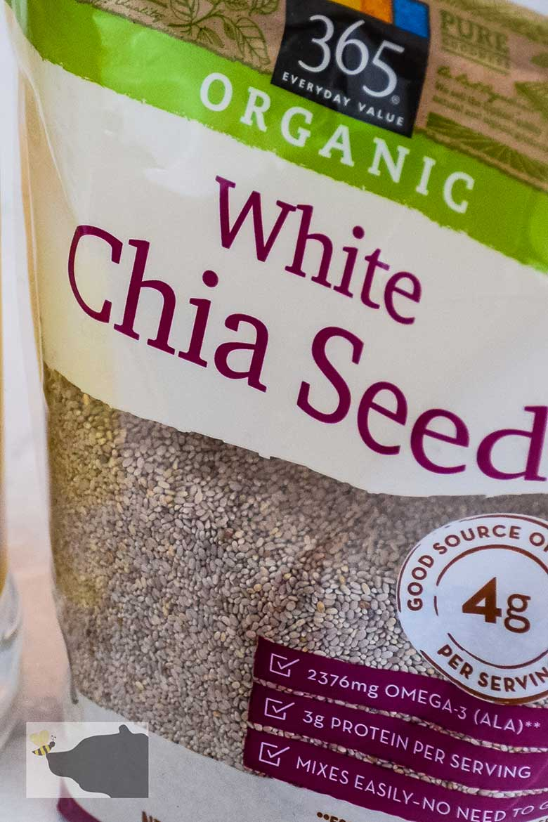 Chia seed in packaging showing part of the nutritional information values