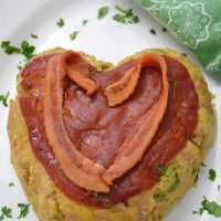 Keto Valentine Recipe Heart Shaped Veal Meatloaf Recipe overhead shot #veal #groundveal #meatloaf #valentine