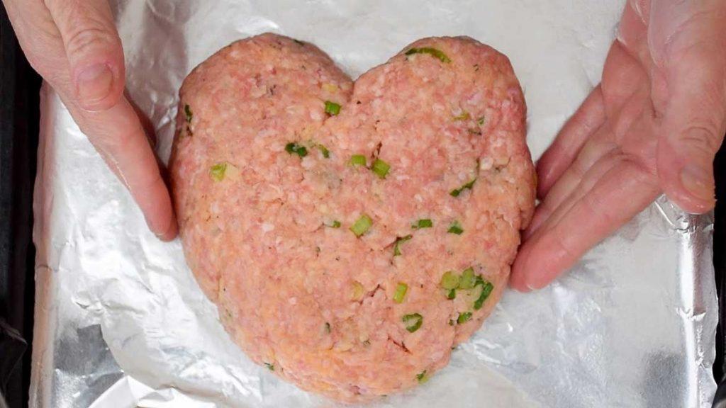 Unbaked Heart Shaped Meatloaf