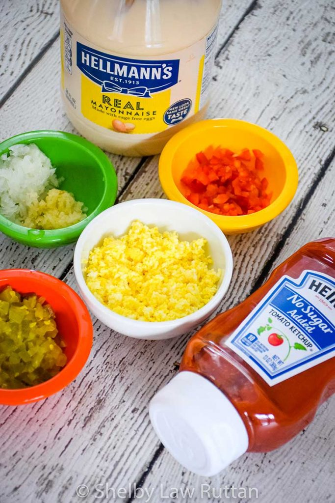 Low Carb, Sugar Free Ingredients for Salad Dressing Ingredients, chopped sweet pickle, minced onion and garlic, chopped red pepper, hard boiled egg, mayonnaise and sugar free ketchup