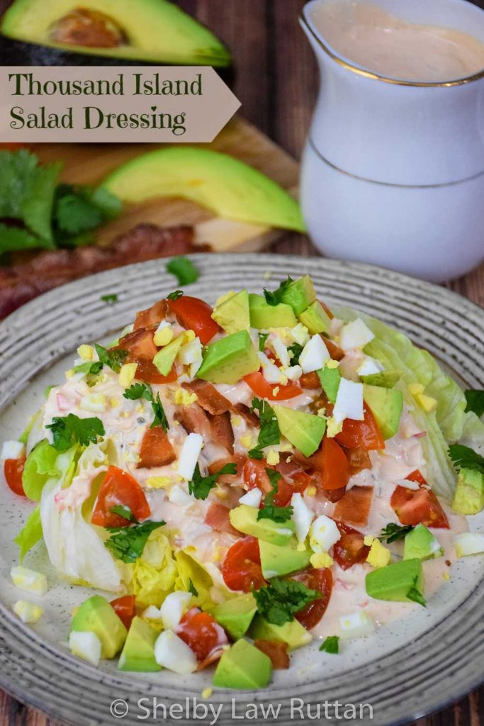 Thousand Island Dressing Recipe Pinnable Image, Wedge Salad in foreground and salad dressing in background