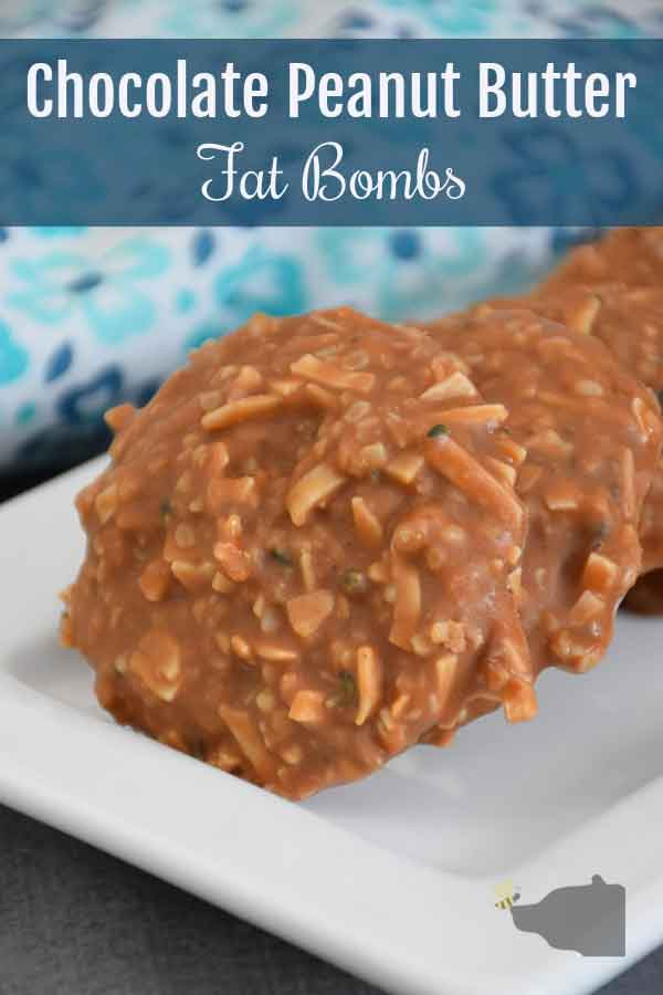 Chocolate Peanut Butter Fat Bomb Recipe pinnable image