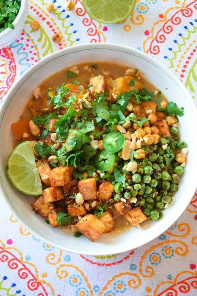 Coconut Curry Tofu vegetarian recipe in a serving bowl