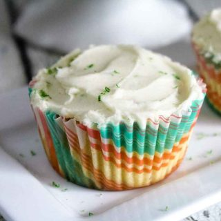 two keto coconut cupcakes on a plate