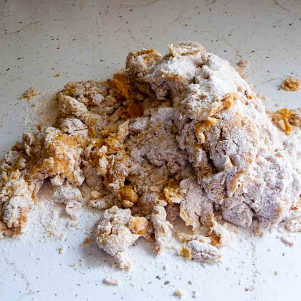 dough on floured counter