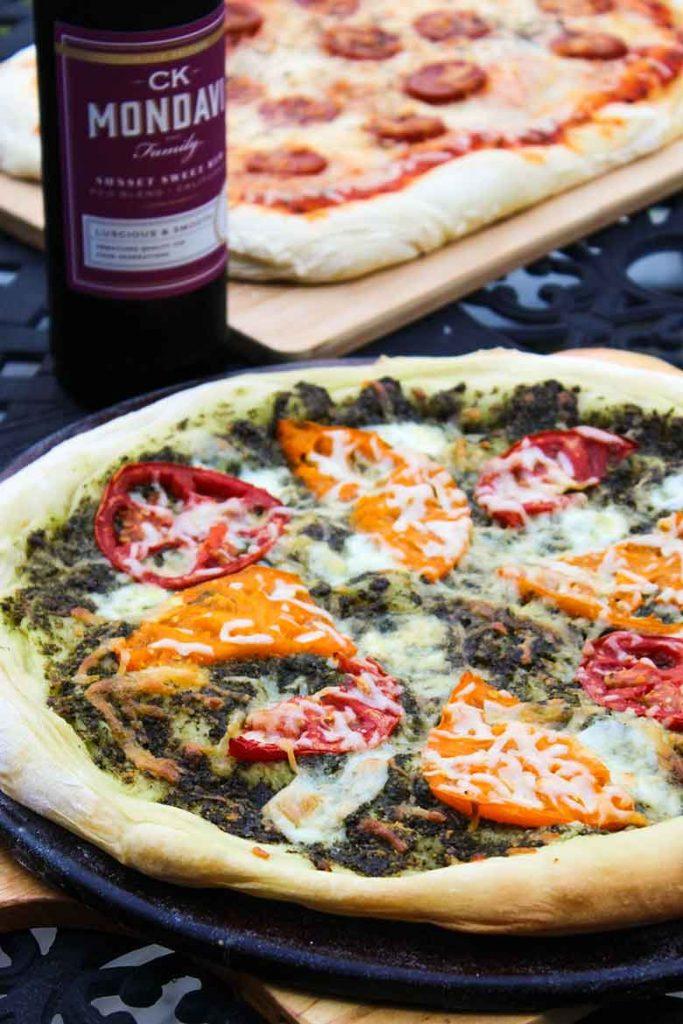Heirloom Tomato Pizza with Homemade Pesto Sauce