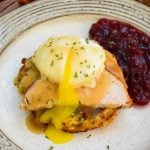 Thanksgiving Eggs Benedict with a side of cranberry sauce