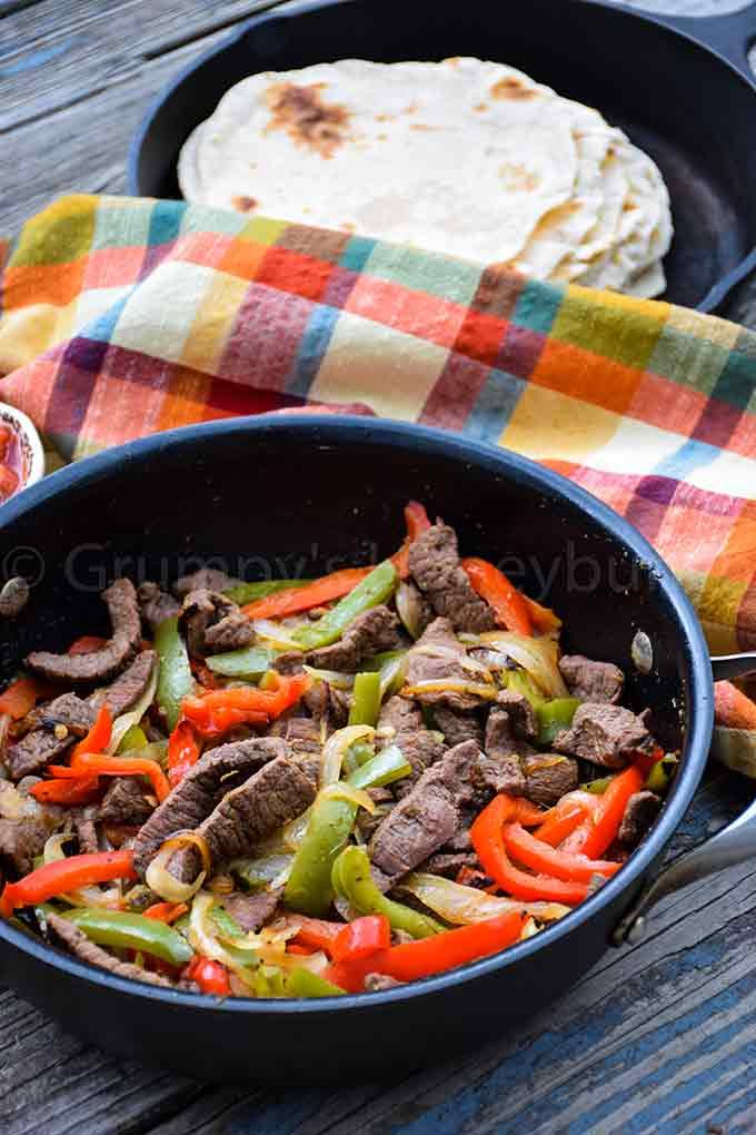 up close image of easy venison fajita recipe ready to serve from the skillet