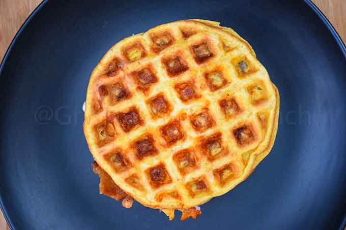 1 chaffle on a black plate