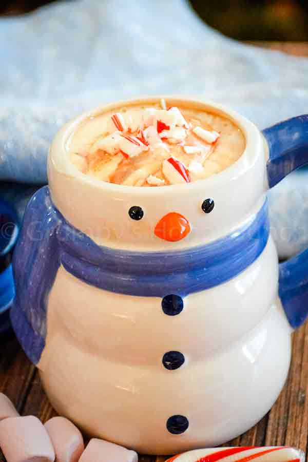 Creamy Hot Cocoa with crushed sugar free peppermint