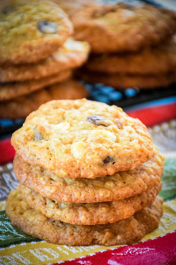 Banana Walnut Chocolate Chunk Cookies in a stack
