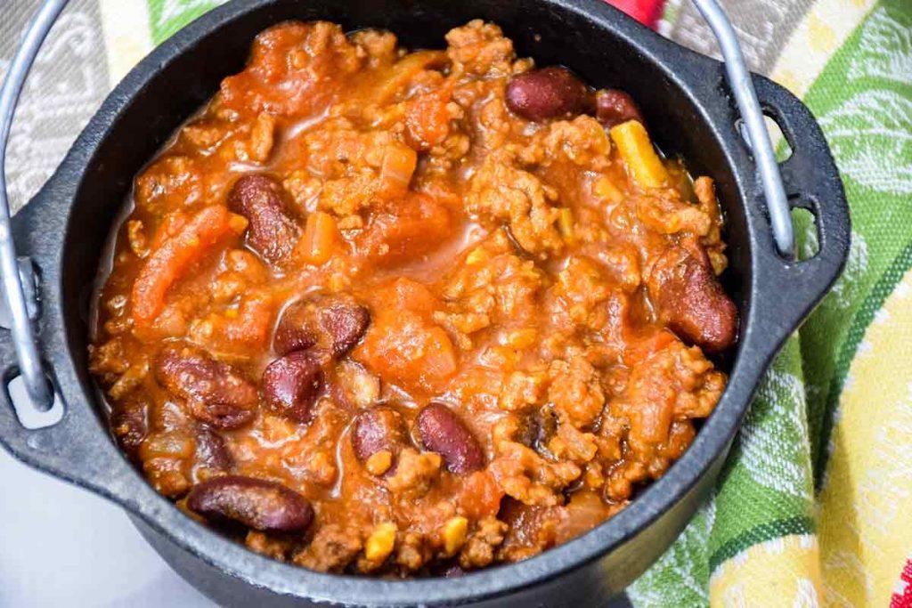 overhead shot of beef chili recipe