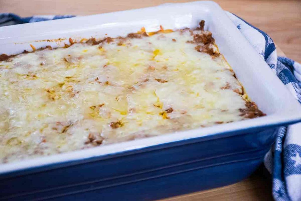 Baked casserole in a blue dish