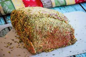 roast beef with herb rub before going in the air fryer.