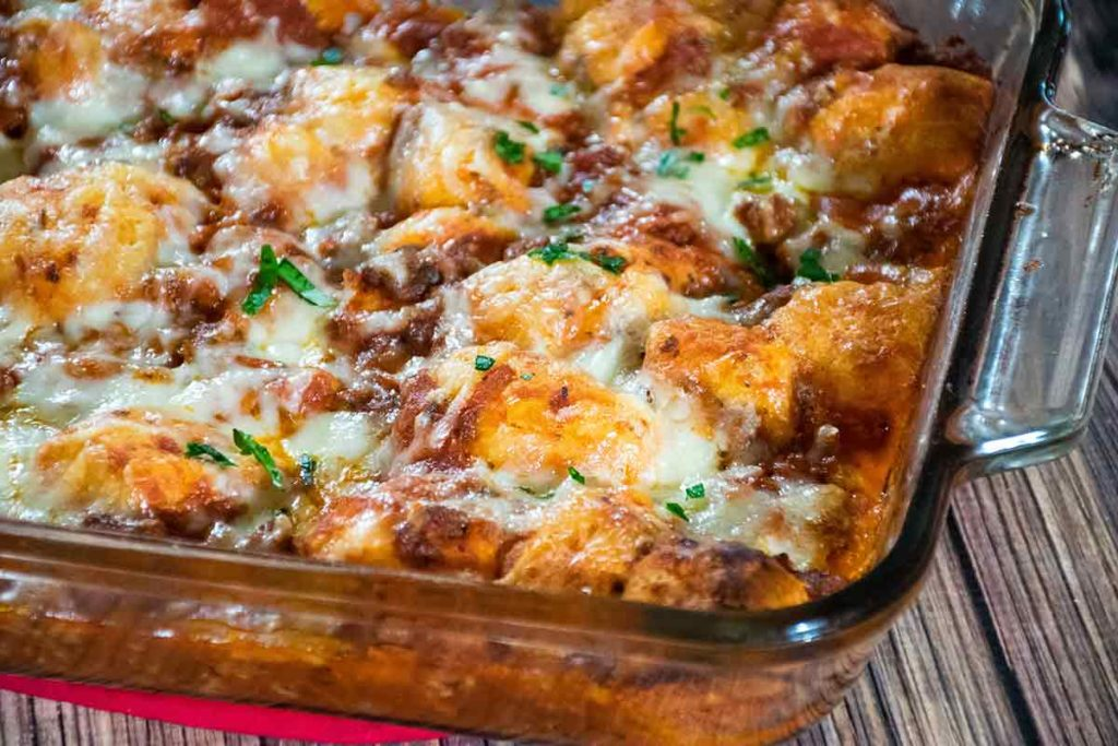 Baked Bubble Up Pizza Casserole in the baking dish