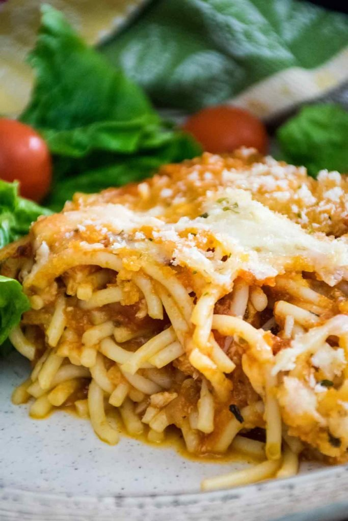 Chicken Parmesan Casserole serving on a plate