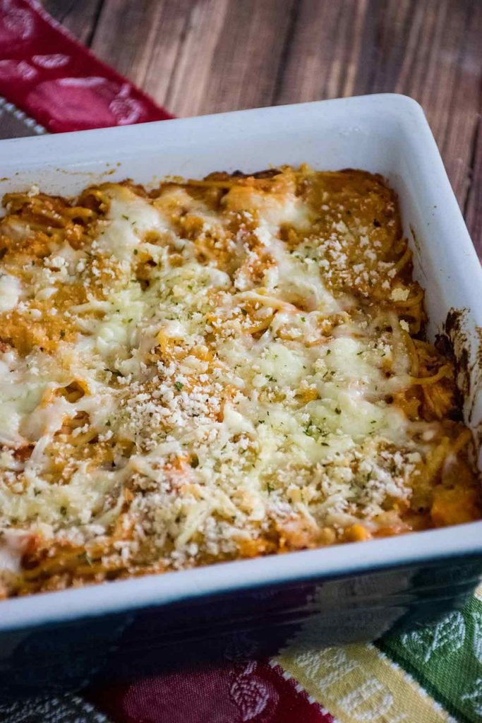 overhead view of baked casserole