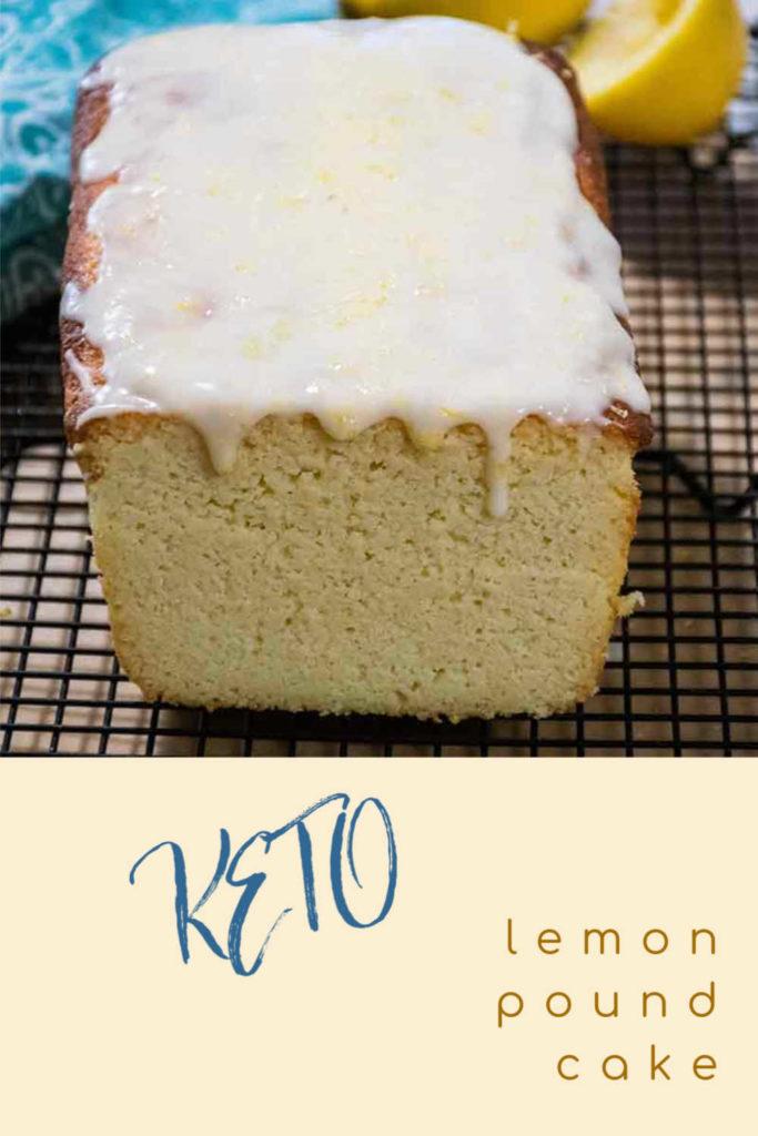keto lemon pound cake with lemon icing pinnable image