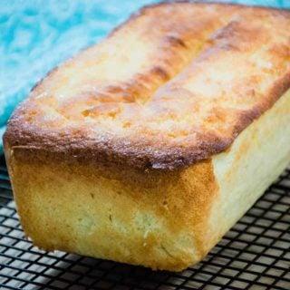 Keto Lemon Pound Cake on a cooling rack
