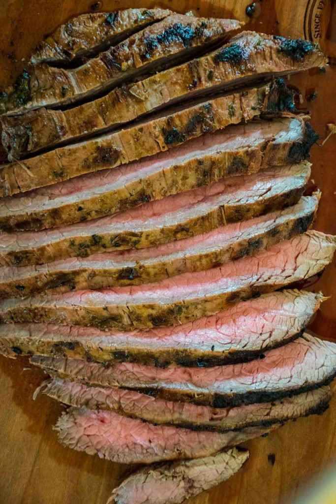 sliced marinated flank steak