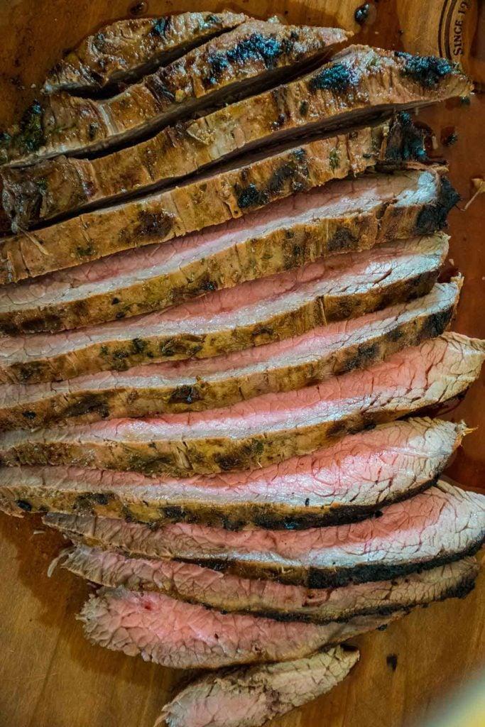 sliced marinated flank steak