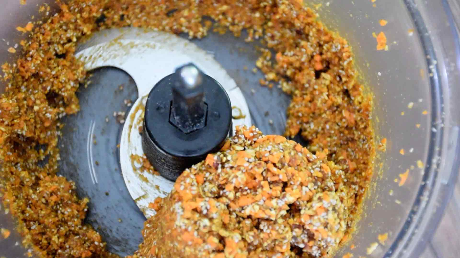 Carrot cake energy bites in the food processor