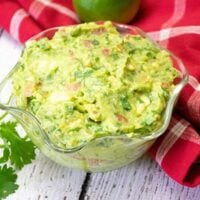 Overhead view of a bowl of homemade guacamole recipe