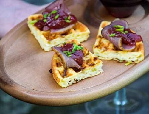 Duck Appetizer Chaffle with Rhubarb Topping