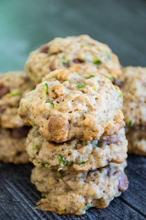 Stacks of Zucchini Chocolate Chip Cookies
