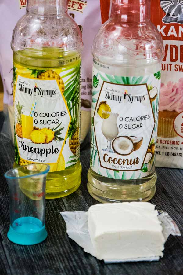 A bottle each of the pineapple and coconut sugar free syrups used in the recipe