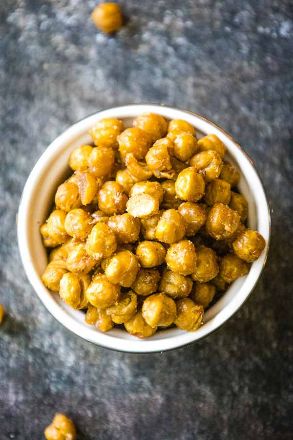 overhead up close view of oven roasted chickpeas in a serving dish