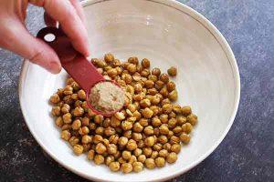coating chickpeas with umami seasoning